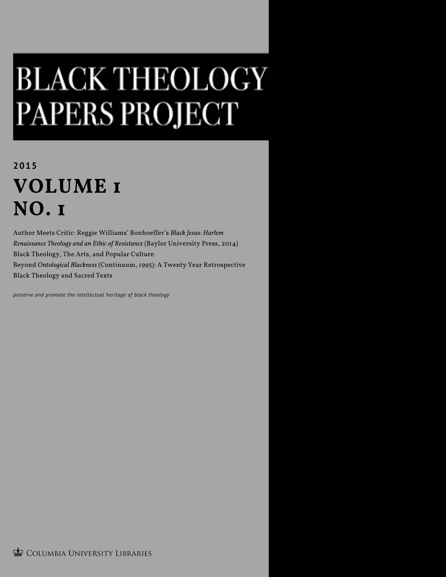 Black Theology Papers Project Vol. 1