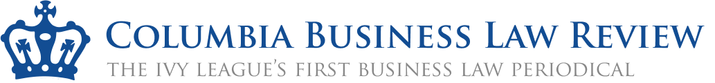 "Logo for the Columbia Business Law review. Next to a blue crown the name of the Journal appears in dark blue letters over the tag line ""The Ivy League's First Business Law Periodical"""