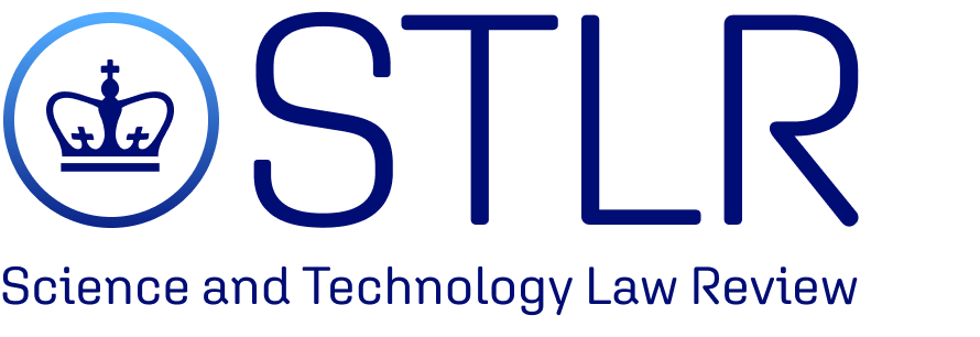 Logo for the Science and Technology Law Review. The Journal's title overlays a blue crown